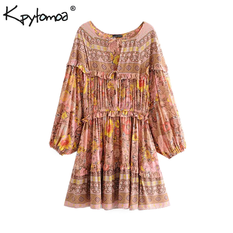 9d72e75f9c640 Boho Chic Summer Vintage Floral Print Ruffles Mini Dress Women 2019 Fashion  Long Sleeve Bow Tie Beach Dresses Femme Vestidos