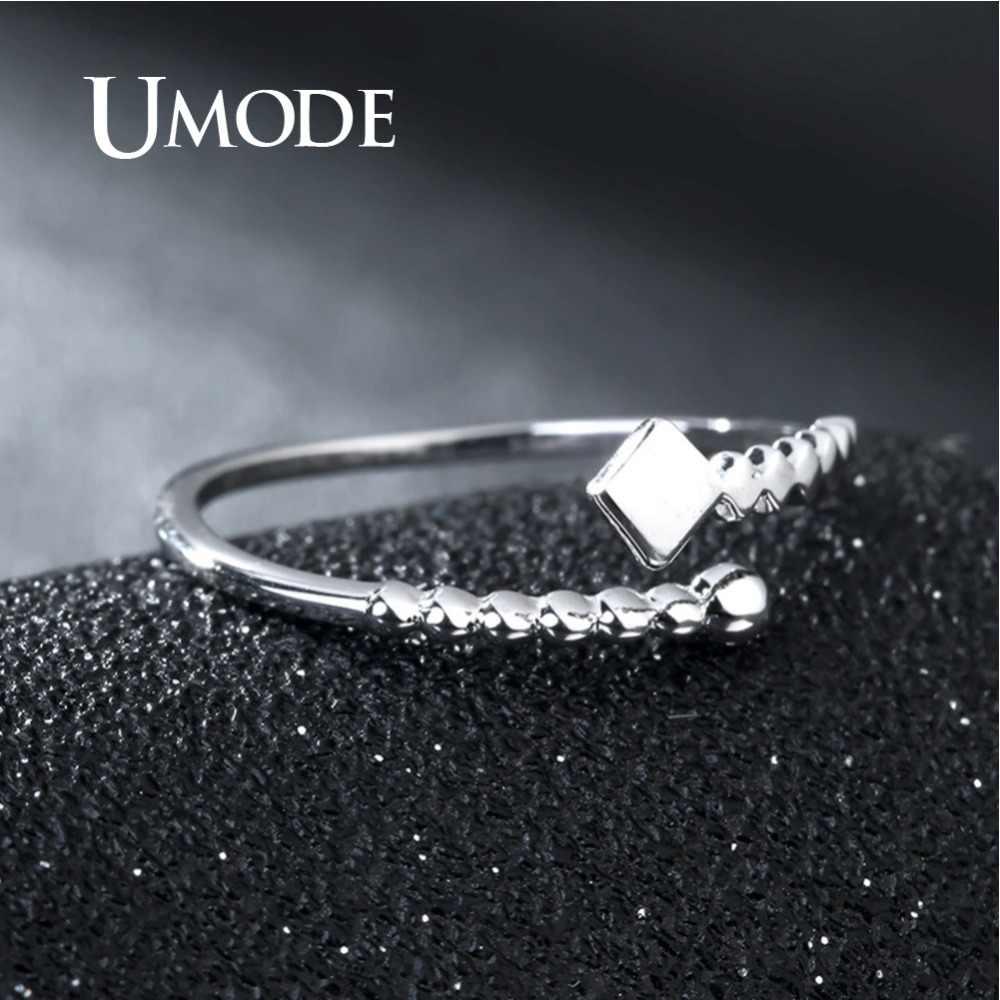 UMODE เกาหลีแท้ 925 แหวนเงินผู้หญิงลูกปัด Bypass Cuff หญิงเปิดแหวนเครื่องประดับ ULR0690