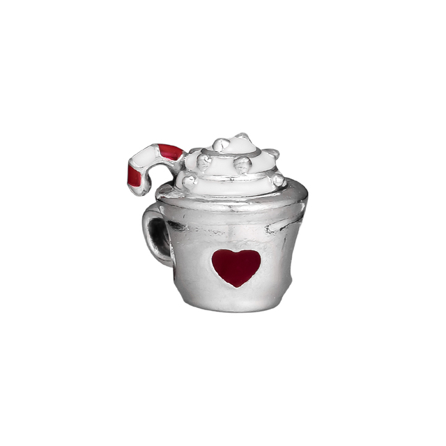 d5aac6a27 Fits Pandora Bracelet Warm Cocoa Red Enamel Charm Beads Authentic 925  Sterling Silver Original Jewelry DIY Making