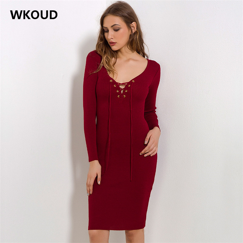 WKOUD Women's Spring Solid Knitted Dress Fashion Sexy Hollow Out Party Dresses Deep V-neck Pencil Dress Female Casual Wear L8034 white lace hollow out deep v neck party dresses