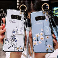 Wrist Strap Case For Samsung J3 J4 J5 J6 J7 J8 A5 A6 A7 A8 Plus 2018 2017 A10 A30 A50 M10 M20 M30 Flower Pattern Holder Cover