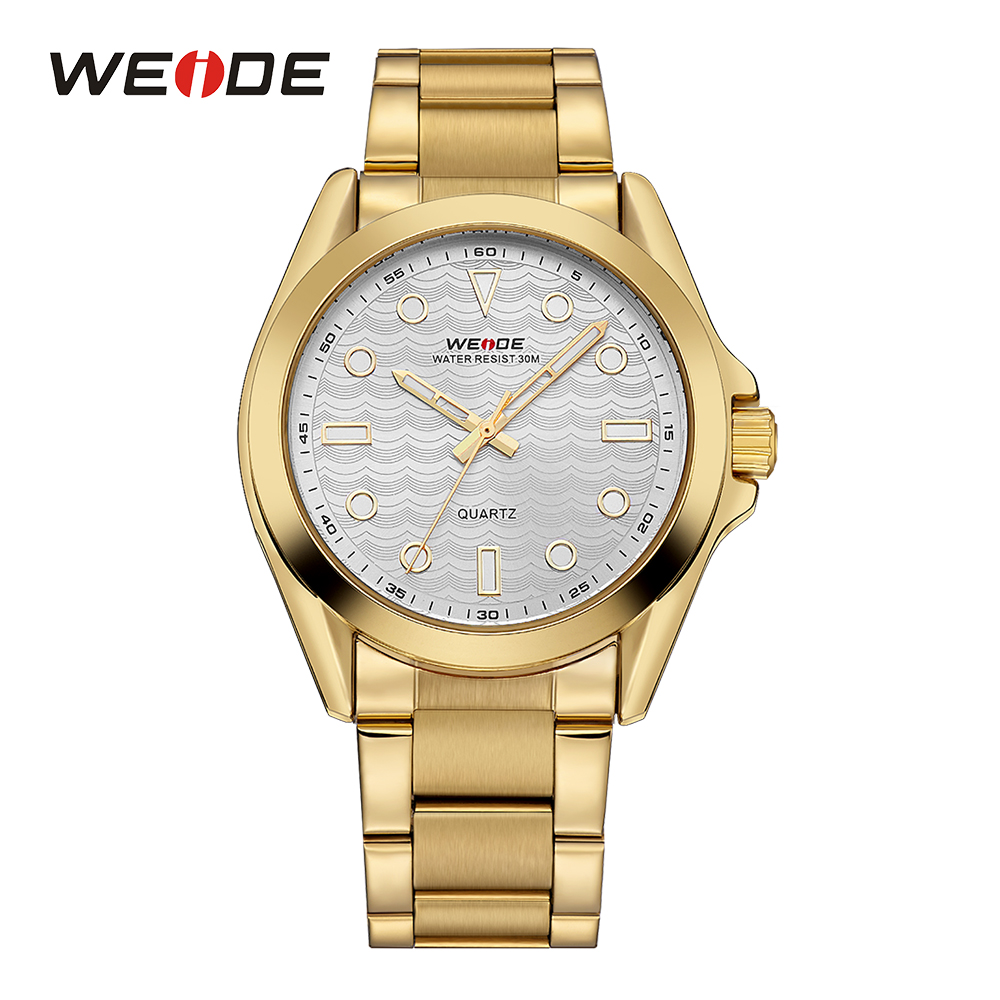 WEIDE Mens Military Outdoor Wristwatch Quartz Sport Watch White And Golden Round Stainless Steel Band Movement Analog Male Clock weide men sport watch black nylon strap quartz movement military watch analog round dial hardlex buckle mens clock wristwatches