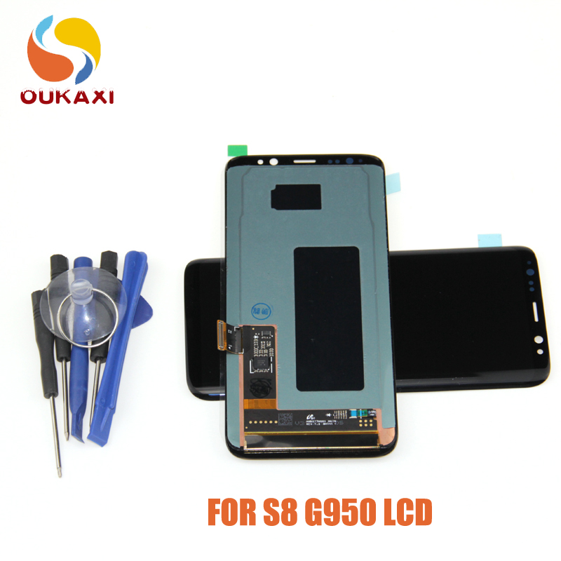 Tremendous Amoled For Samsung Galaxy S8 Liquid crystal display Show Contact Display screen Digitizer Meeting For Samsung S8 G950 G950F G950U G950W Liquid crystal display