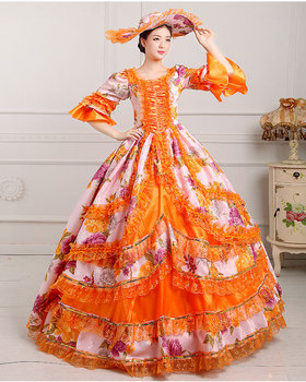 luxury floral printing flare sleeve 9 color medieval dress with hat renaissance Gown princess cosplay Victorian/belle ball gown