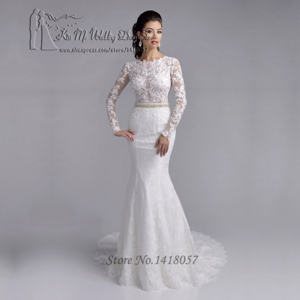 Buy vestido branco mermaid wedding for Long sleeve indian wedding dresses