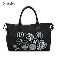 DIINOVIVO Large Capacity Women Punk Bags Nylon Leather Female Waterproof Designer Travel Bag Casual Multifunction Totes WHDV0306