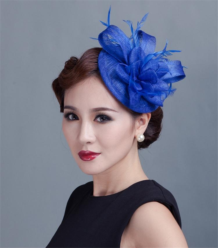 Women Sinamay Fascinator Headwear Feather Flower Hair Clip Wedding ... cac6f4cdb14