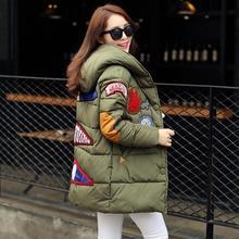 2016 winter jacket women military print parkas duck down loose fit coat medium long pathchwork plus size overcoat snowear