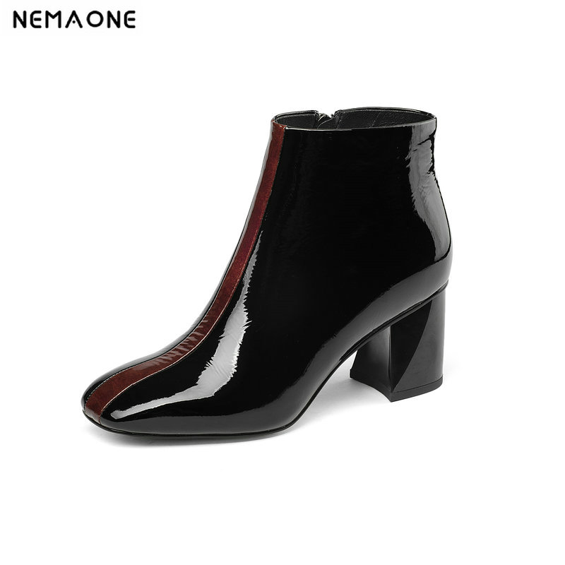New women genuine leather ankle boots 6cm thick high heels ladies dress shoes square toe autumn winter boots womanNew women genuine leather ankle boots 6cm thick high heels ladies dress shoes square toe autumn winter boots woman