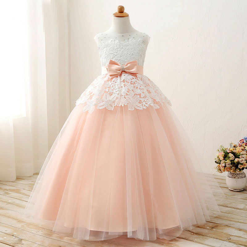 Lace Flower Girls Dresses Sleeveless First Communion Dresses For Little Girls A-Line  Kids Evening Gowns  With Sashes Bow