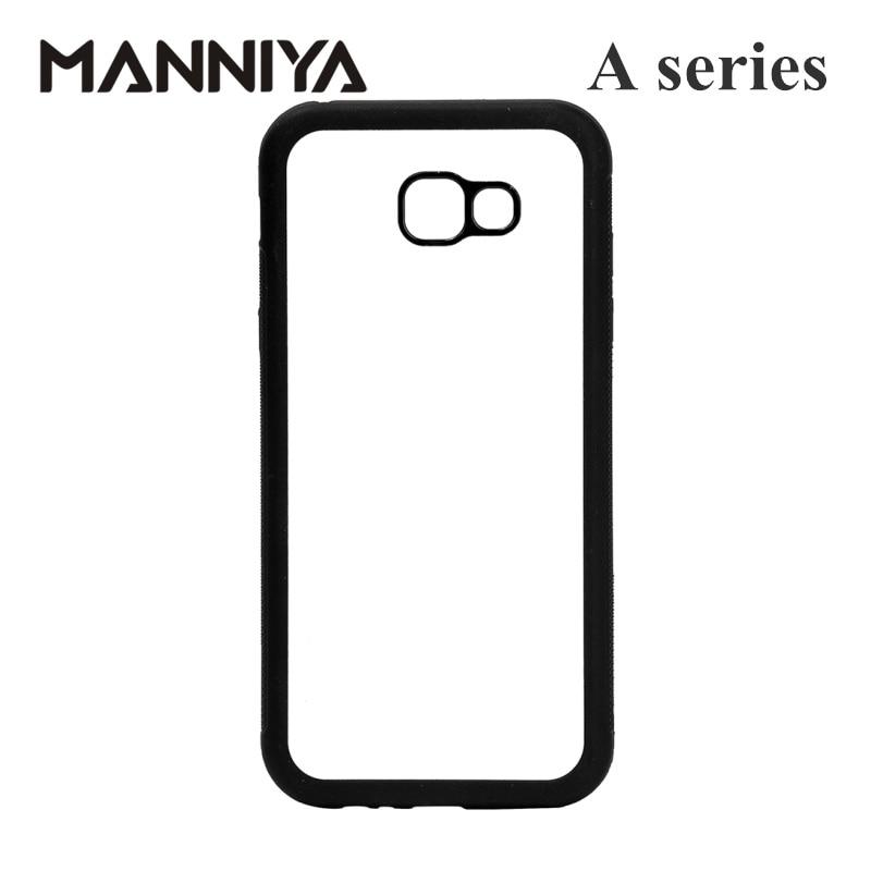 MANNIYA Tom Sublimation gummi TPU + PC-fodral för Samsung Galaxy A3 A5 A6 A7 A8 A9 med aluminiuminsatser 10st / lot
