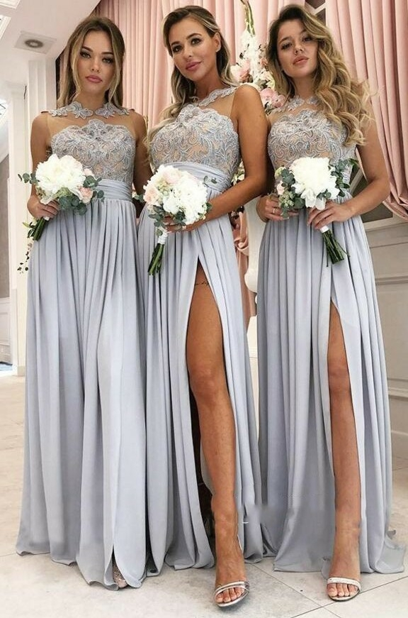 Front Split Lace Appliques 2019 Mermaid   Bridesmaid     Dresses   Long Cheap Maid Of Honor   Dress   robes