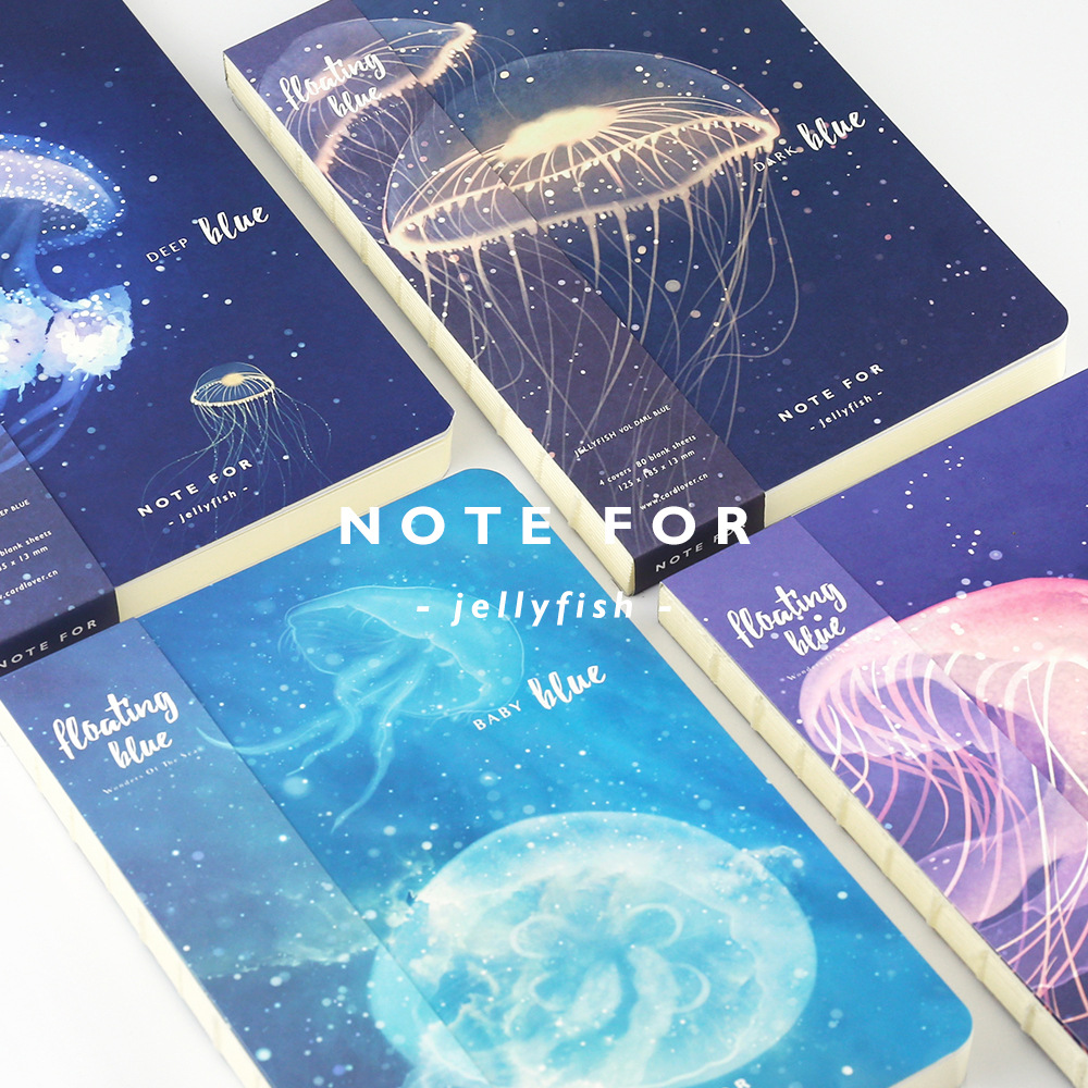 HINWEIS FÜR JELLY FISH Serie A5 Japanische Niedlich Notebook 100G Papier Leere Seiten Sketch Papier DIY Tagebuch Travel Notebook Geschenk