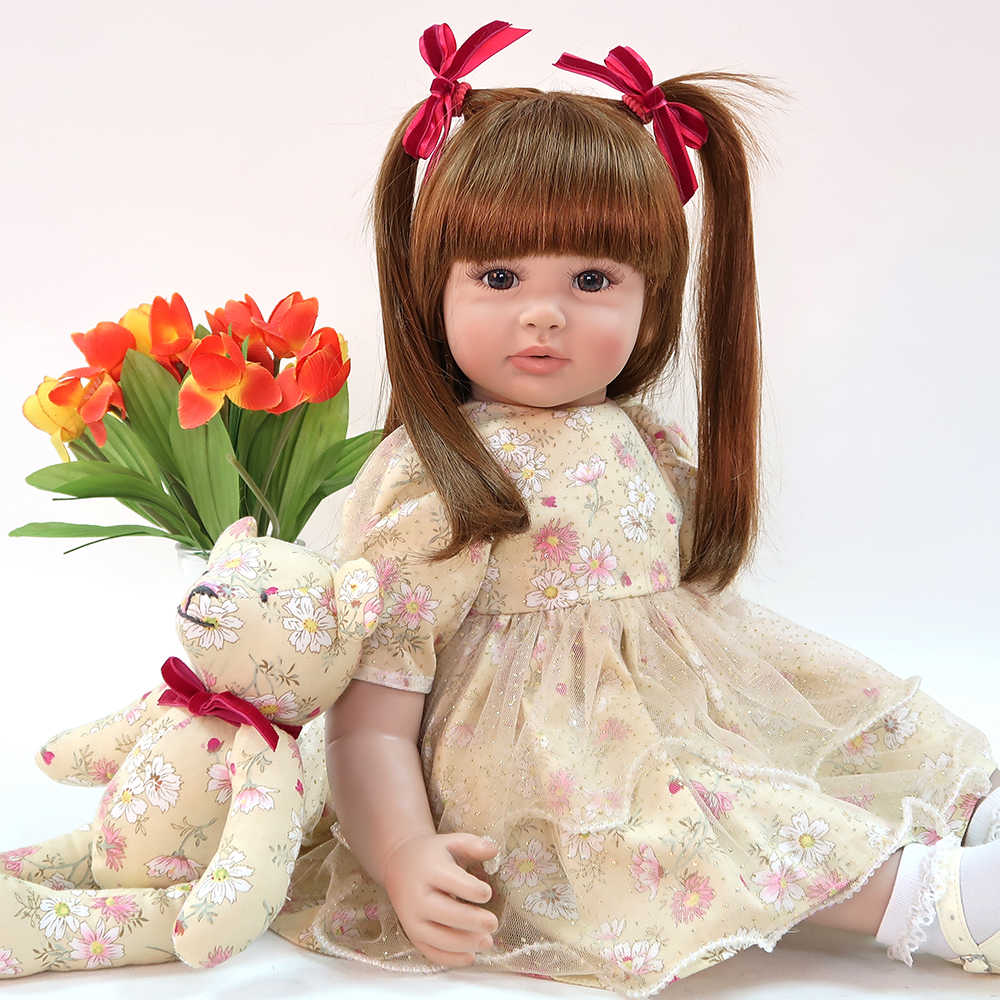 60cm Silicone Reborn Baby Doll Toys 24 inch Vinyl Princess Toddler Babies Dolls Girls gift exclusive Model bebe Boneca reborn