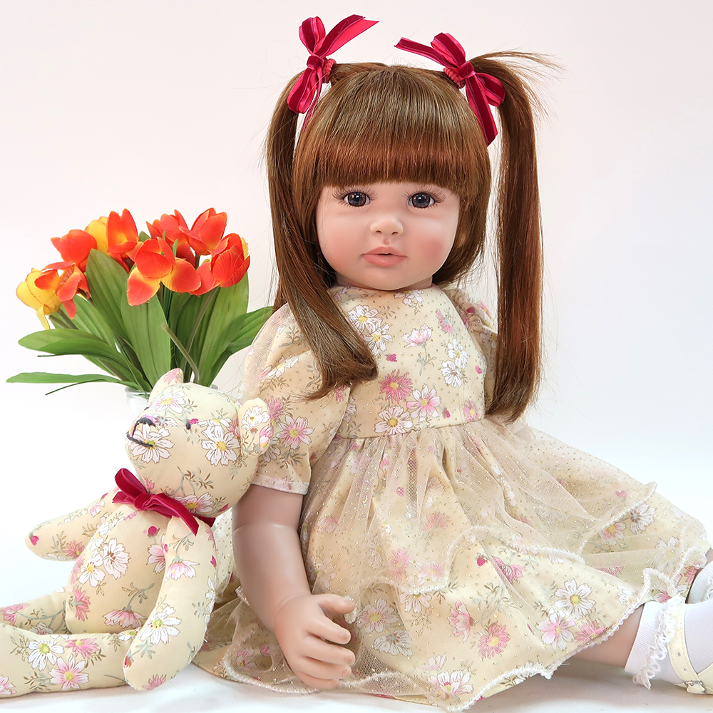 60cm Silicone Reborn Baby Doll Toys 24 inch Vinyl <font><b>Princess</b></font> <font><b>Toddler</b></font> Babies Dolls Girls gift exclusive Model bebe Boneca reborn image