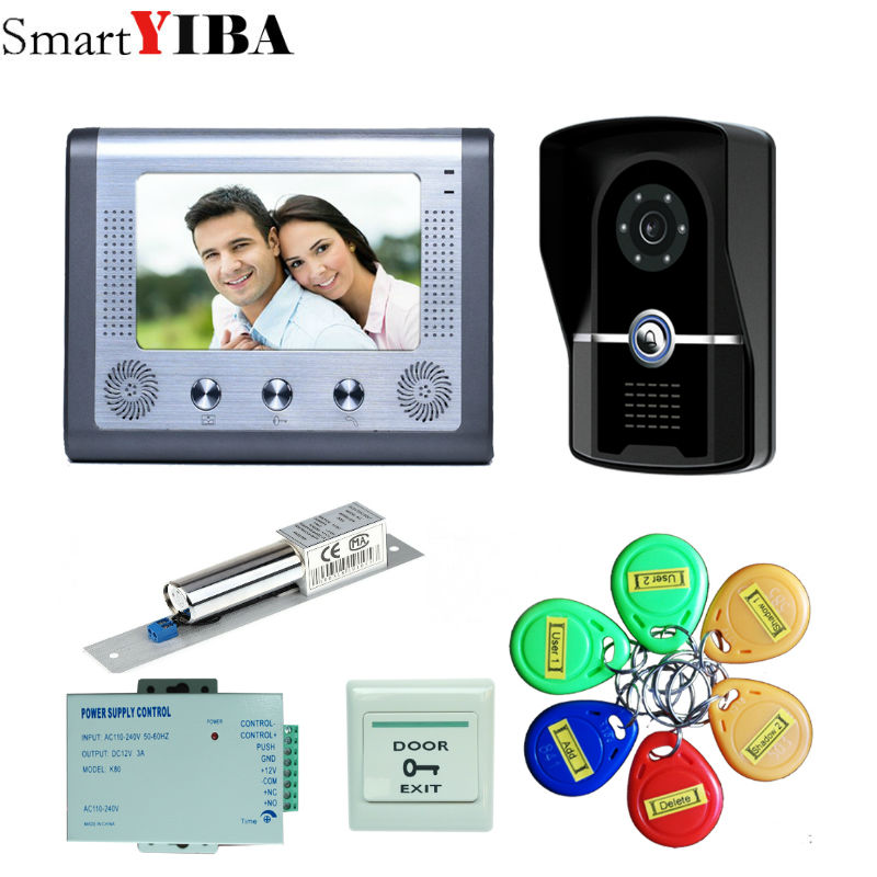 SmartYIBA  7 Wired Video Intercom Video Doorbell With IR-CUT Outdoor Camera 1000TVL Visual Intercom Remote Unlock Video DoorSmartYIBA  7 Wired Video Intercom Video Doorbell With IR-CUT Outdoor Camera 1000TVL Visual Intercom Remote Unlock Video Door