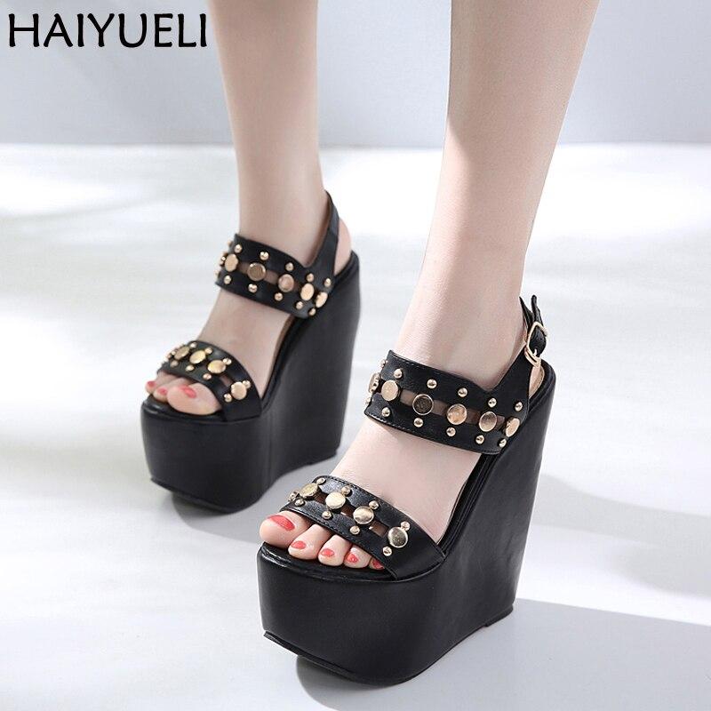 7543398d60b 17 cm Ultra tacones sandalias de moda remaches tacones altos plataforma  cuñas Zapatos para las mujeres negro zapatos de tacón alto con hebilla  sandalias