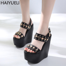 17cm Ultra Heels Gladiator Sandals Fashion Rivets High Heels Platform Wedges Shoes For Women Black High Heels With Buckle Sandal цены онлайн