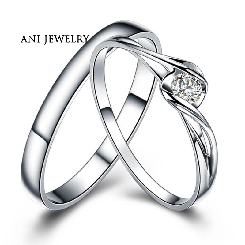 ANI 18K White Gold (AU750) Wedding Ring 0.1 CT Certified I/SI1 Natural Diamond Jewelry Twist Couple Engagement Ring Customized 18k gold ring pair ring lovers couple simple and elegant male female solid au750 wedding engagement hot sale new trendy size7 18