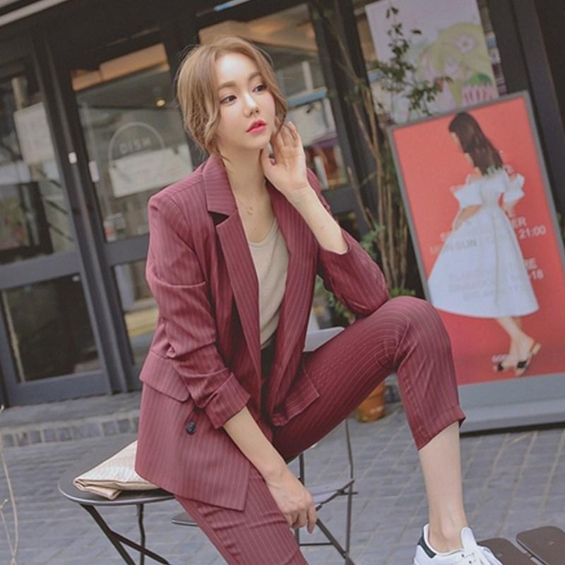 2019 travail mode pantalon costumes femmes 2 pièce ensemble Double boutonnage rayé Blazer veste pantalon bureau dame costume