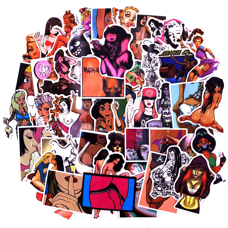 50 Sexy Girl Stickers Bumper Sticker Bumper Suitcase Suitcase Guitar Graffiti Hot Style Stickers Hot Style