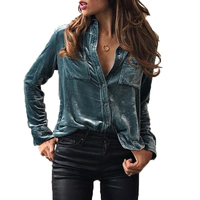 Women Shirts Turn Down Collar Blouse 2017 Fashion Long Sleeve Velvet Blusas Button Female Blouses Tops