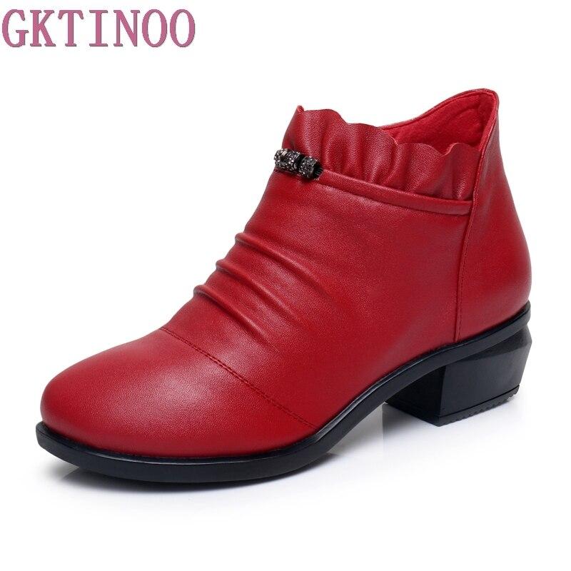 GKTINOO Fashion Women Boots Autumn Boots Genuine Leather Ankle Boots 2018 Winter Warm Fur Plush Women Shoes Big Size 43