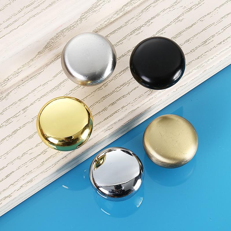 5PCS/Set Round Alloy Door Handles Black/Gold/Silver/Bronze/Silver White For Furniture Kitchen Cabinet Wardrobe Drawer Pull Knob