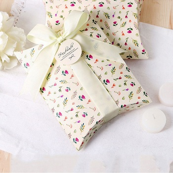 200pcs Fresh Floral Paper Pillow Gift Box Folding Packaging Box for Cookies Candies WB26