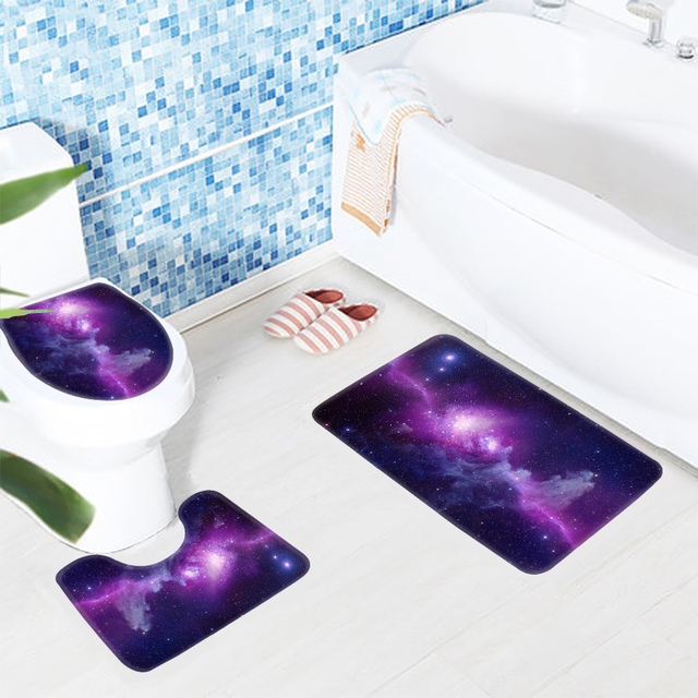 3pcs Bathroom Mat Set Galaxy E Purple Star Sky Pattern Bath Rug Anti Slip