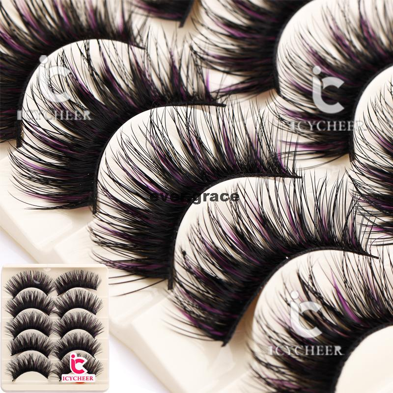 ICYCHEER 5 Pairs Makeup False Eyelashes Black & Purple Eye Lashes Extension Cosmetics