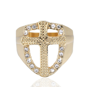 Image 2 - Fashion Crystal Gold Tone Knights Cross Finger Ring For Women Men Prayer Christian Jesus Band Biker Rock Hip hop Wedding Jewelry