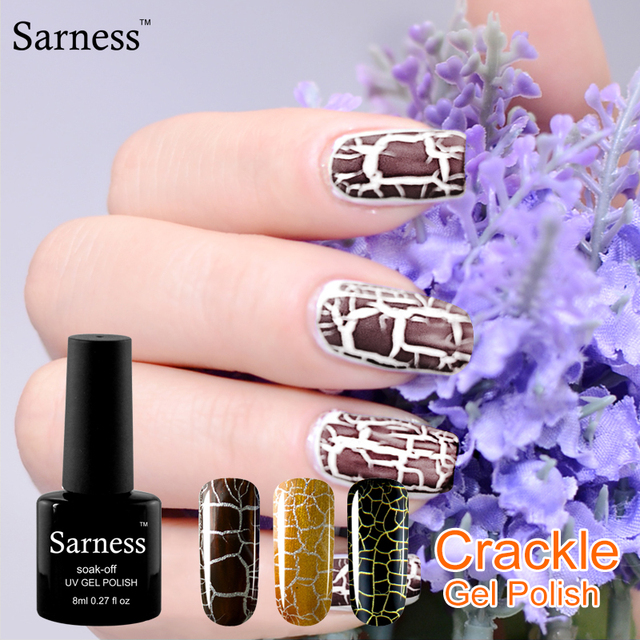 sarness 12 Colorful lucky Crack Nails Polish Gel Lacquer 30 day ...