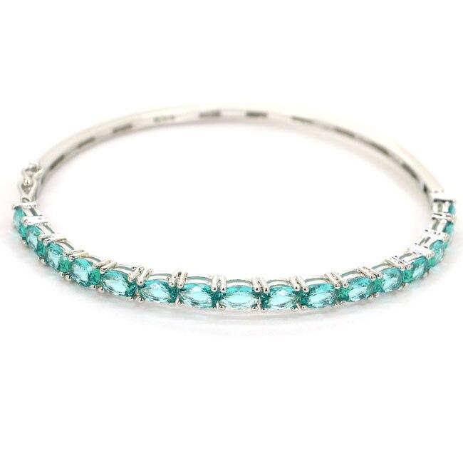 Ravishing Rich Blue Aquamarine Cubic Zirconia 925 bangle Silver Bracelet 7.5-8.0 6x4mm
