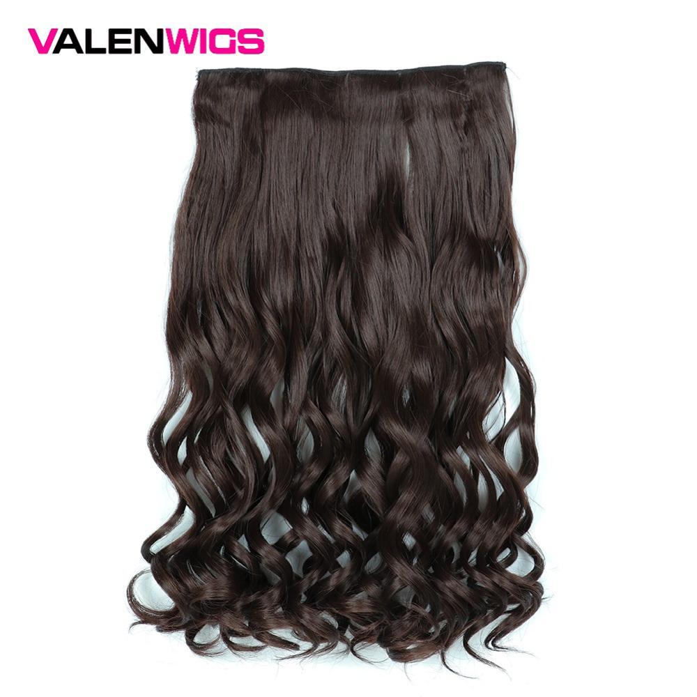 Perucas resistentes ao calor sintéticas das mulheres da cor natural pura de valen 5 grampos no cabelo longo ondulado um grampo em extensões do cabelo