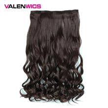 Valen Wigs Pure Natural Color Women Synthetic Heat Resistant 5 Clips In Hairpiece Long Wavy One Clip On Hair Extensions