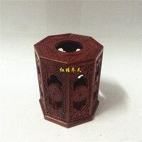 Красный сандаловое дерево шестиугольная полое благословение спереди деревянная коробка для салфеток коробка для платочков лоток Накачка