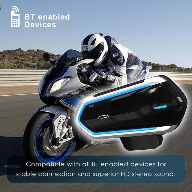 Мотогарнитура Qtb35 для мотоциклетного шлема, водонепроницаемые наушники с поддержкой Bluetooth, FM радио
