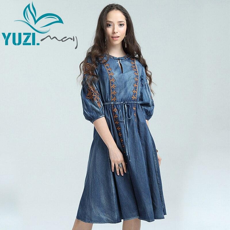 ผู้หญิง 2017 Yuzi. may Boho ใหม่ผ้าฝ้าย Lyocell Vestidos O   Neck A   Line เย็บปักถักร้อยเย็บปักถักร้อย Vintage Vestido A82027 ชุด-ใน ชุดเดรส จาก เสื้อผ้าสตรี บน   1