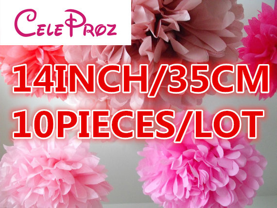 (10Pcs/Lot) 35cm 14 inch Wedding DecorativeTissue Paper Flowers paper pom poms Flower balls