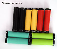 SPOMANN Alluminium Alloy Rings+TPR Rubber Bicycle Handlebar Grips Double locked Anti-slip Bike Grip MTB Bicicleta Parts 120g