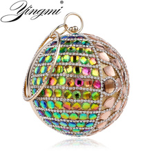 купить YINGMI Round Shaped Women Evening Bag Rhinestones Beaded Crossbody Handbags Diamonds Party Wedding Clutch Purse Bag дешево