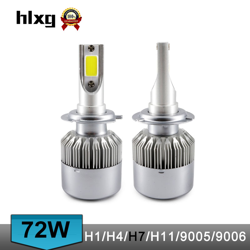 6000K Cold White Cob Cars Headlight LED H4 H1 H7 H8 H9 H11 9005 9006 Hb4 72W 7600LM Car Led Auto Headlamp Kit DRL Fog Lamp Bulbs