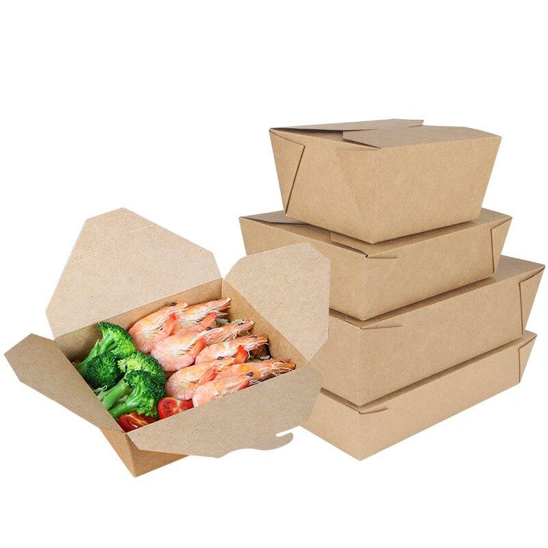 Various Fast Food Shop Disposable Take Out Kraft Paper Takeaway box Restaurant Sushi Salad Food Packaging
