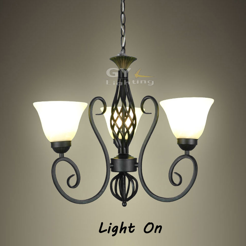 Loft industrial hanglamp 3pcs Frost glass lampshade Wrought Iron pendant lamp E27 luz Black Vintage Home store shop lighting