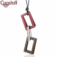 Wooden Square Pendant Woman Jewelry Vintage statement necklaces & pendants Wholesale Long Women Necklace relogio choker colar