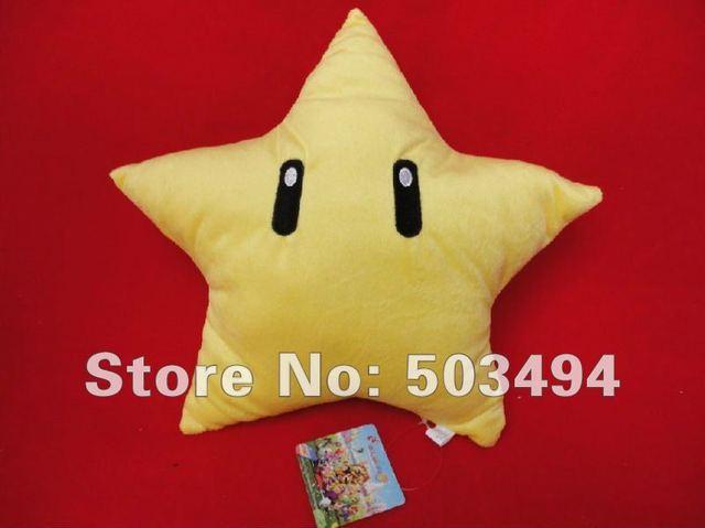 "Free Shipping  Super Mario Bros Star 10"" (25CM) Plush Doll Cushion super mario star plush doll super mario star man plush toy"