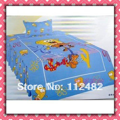 Reactive dyes printed 4pcs Bedding Cotton Spongebob Bedding Set Children's Free Shipping