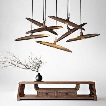 Ahşap kolye ışık ahşap süspansiyon lambası minimalist tasarım İskandinav aydınlatma asılı lamba yemek odası restoran otel