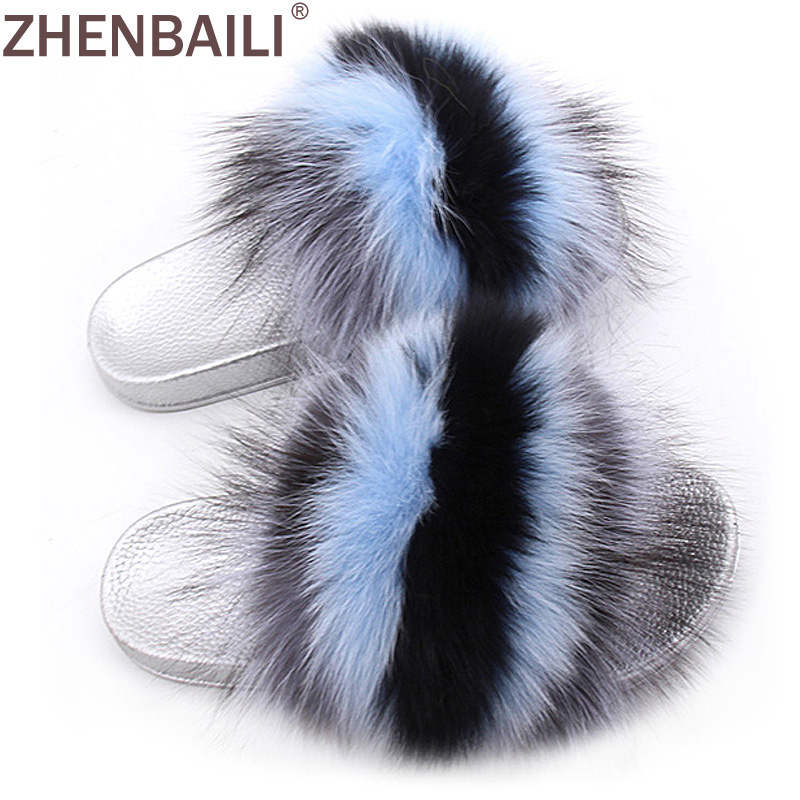 ZHENBAILI Size 36 43 Women Sandals Summer Fashion Striped Fuzzy Faux Fur Flat Slippers Silver Sole Ladies Slides 11 Colors